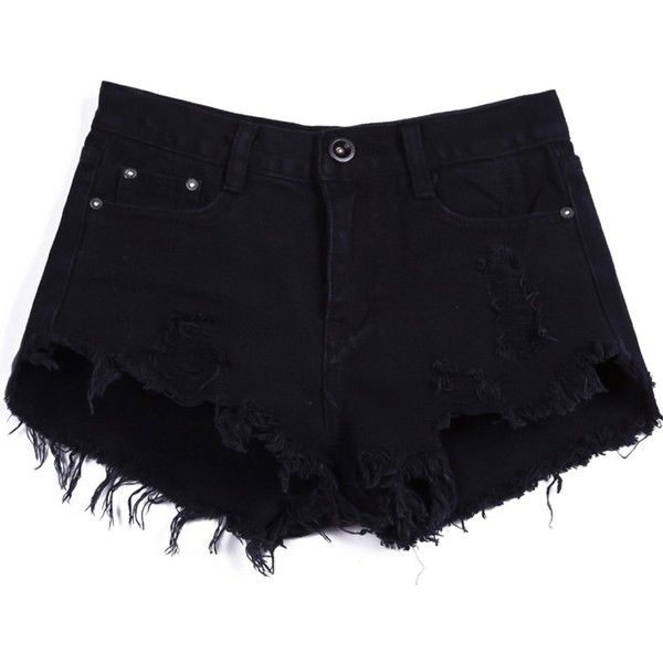 Sheinside Women's Mid Waist Button Fly Ripped Denim Shorts (S, Black)... ($21) ❤ liked on Polyvore featuring shorts, bottoms, distressed denim shorts, ripped jean shorts, distressed shorts, jean shorts and torn shorts