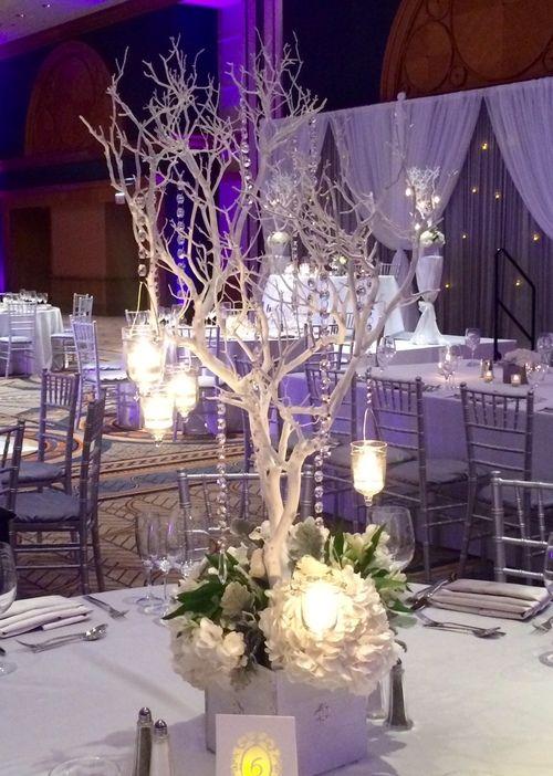 Manzanita Tree Reception Table Centerpiece Ideas