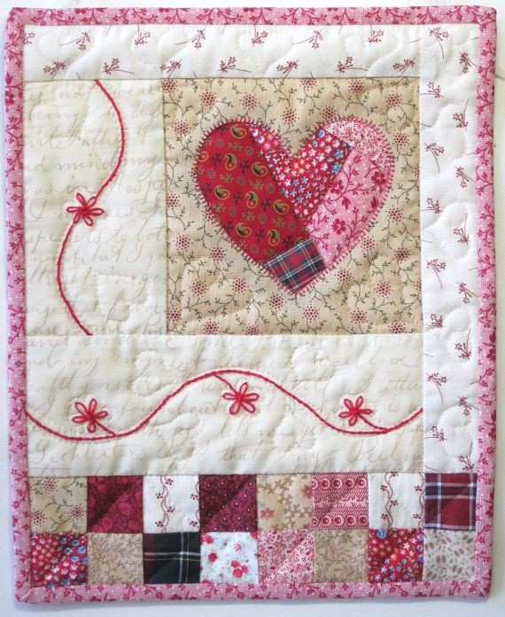 Casita Shabby Chic pared edredón corazón por LittleTreasureQuilts