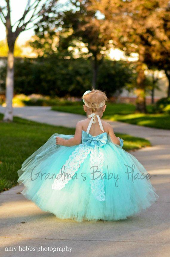 Resplandor azul Tutu vestido Aqua flores de por Grandmasbabyplace
