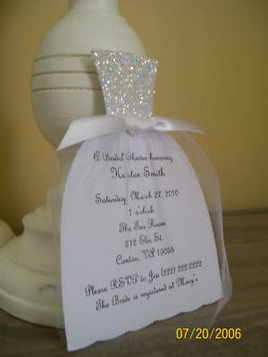 Handmade Wedding Dress Bridal Shower Invitation. You could send them with the wedding invitations but only to those you want at the party! How smart!!!