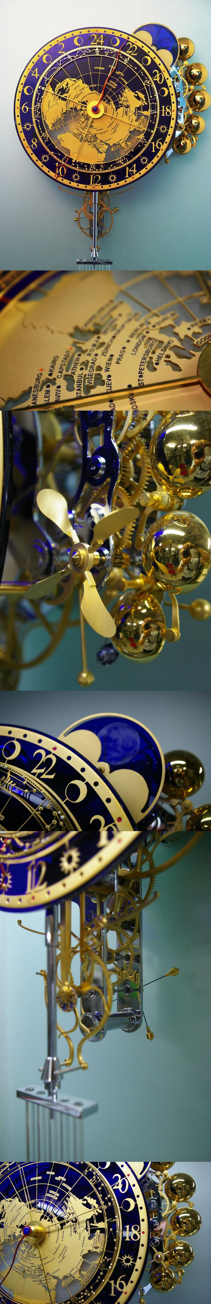 The Worldtime by Miki Eleta, diz as horas e detalhes astrológicos
