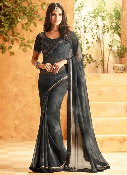 Latest Designer Bollywood Charcoal Colored 23697 Traditional Beautiful Georgette Sari Partywear Embroidered Saree For Women