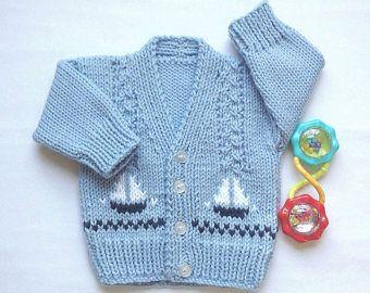 Rebeca niño bebé - 0 a 6 meses - bebé suéter de punto con veleros - regalo de bebé nuevo - tejidos de bebé - regalos de bebé