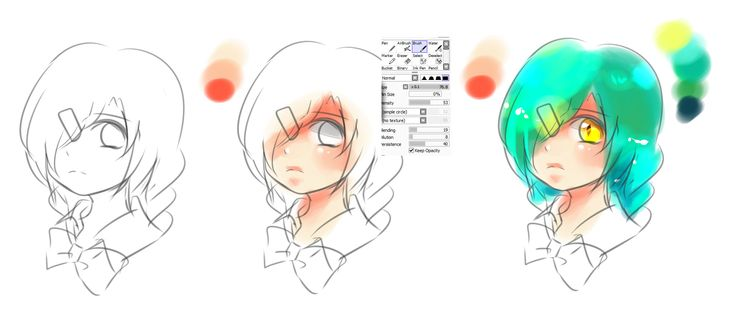 Step by Step How to draw and coloring headshot manga or anime style by me ^_^