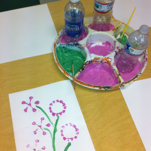 """Water bottle flowers for """"reduce, reuse, recycle"""" theme week!"""