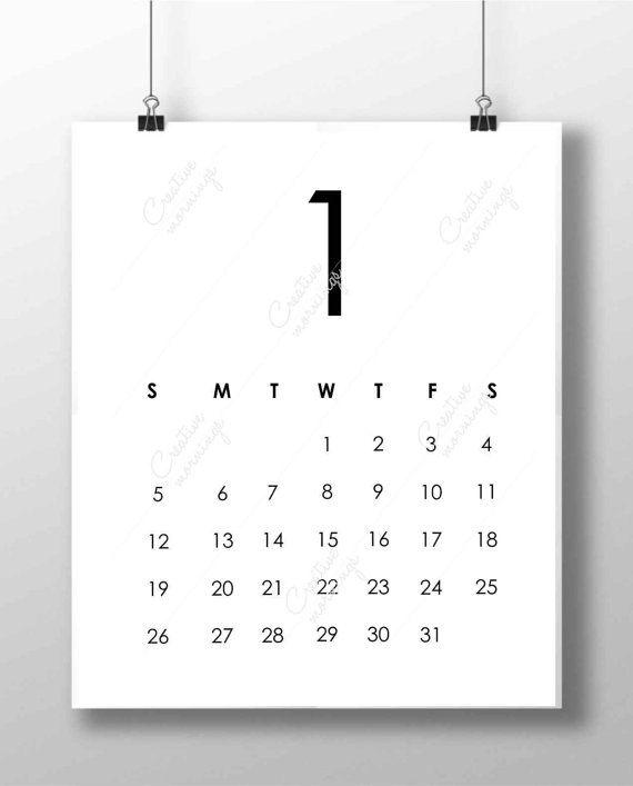 Minimalist Calendar Printable : Minimalist calendar digital print files