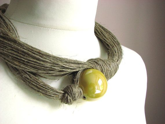 Ceramic Yellow linen necklace by GreyHeartOfStone on Etsy