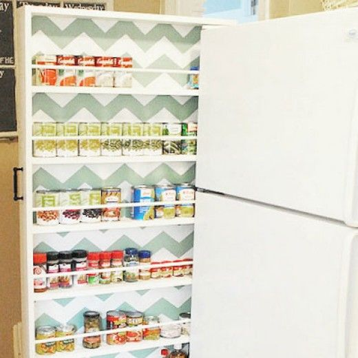 THE FRIDGE WOULD BE TOO HOT ON THE SIDE FOR PLASTIC/GLASS SPICE CONTAINERS, DANGEROUS.  HOWEVER, COULD BE OKAY FOR CANNED FOOD. Secret Storage for Small Spaces | Easy Organization Ideas for the Home