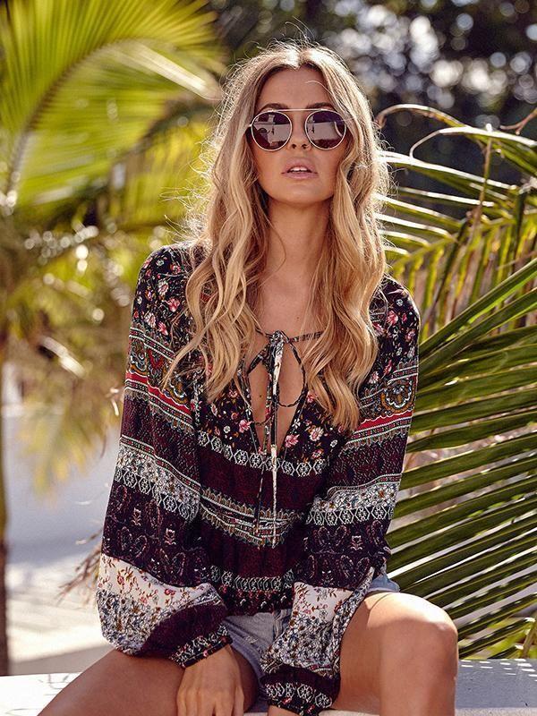 7eb97c45fb2cd Beautiful Floral-Print Long Sleeve Deep V Neck Bohemia Beach T-Shirt Tops