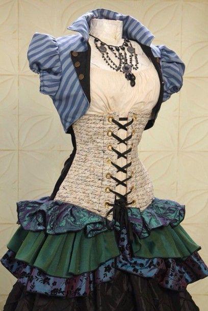 Dress: steampunk, alice in wonderland, skirt, green, purple - Wheretoget