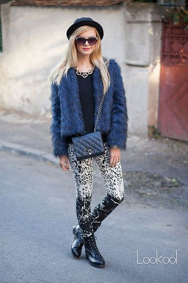 Fake Fur, biker boots, hat, animal print