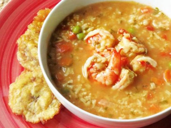 """Fragrant asopao, thick with shrimp, rice and savory sofrito is a popular recipe on Dominican food blog """"Hungry Food Love."""""""