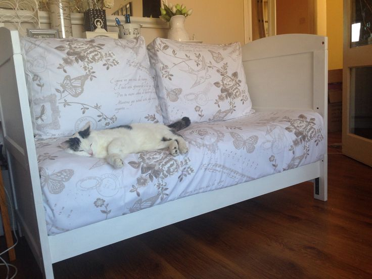 Old cot bed converted to daybed!