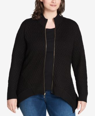 Tommy Hilfiger Plus Size Zip-Up Handkerchief-Hem Sweater, Created for Macy's - Black 1X