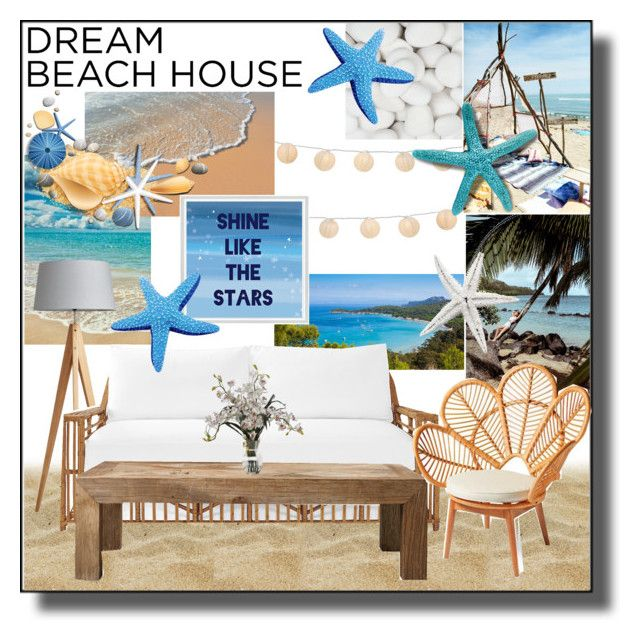 """""""Dream Beach House"""" by shook-squad on Polyvore featuring interior, interiors, interior design, home, home decor, interior decorating, Serena & Lily, LumaBase, Flamant and Grandin Road"""