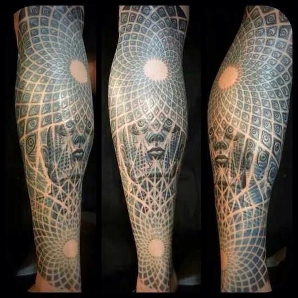 Grey Ink Alex Grey Tattoo Design For Leg