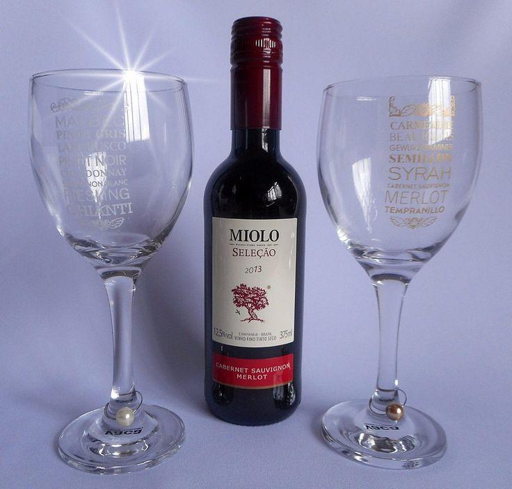 kit vinho miolo seleção & taças - presente padrinhos