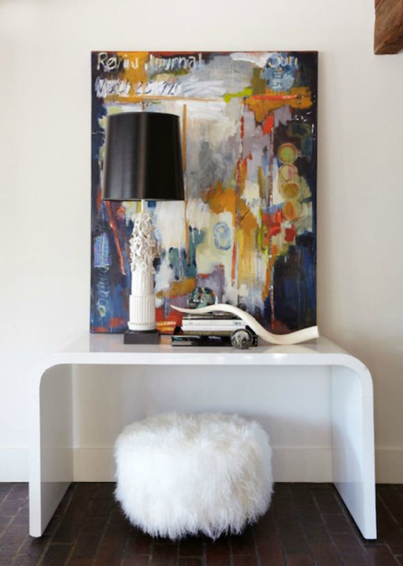 Love the colors in this piece!  ::  from Little Green Notebook: Reader DIY: Mongolian Lamb Stool