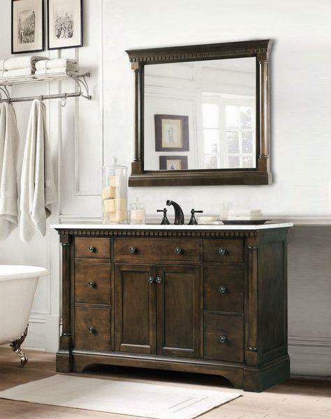 "Claudia, Golden Elite 48"" Walnut Traditional Bathroom Vanity - The Bathroom Vanity Store Canada - 48"" - 1"