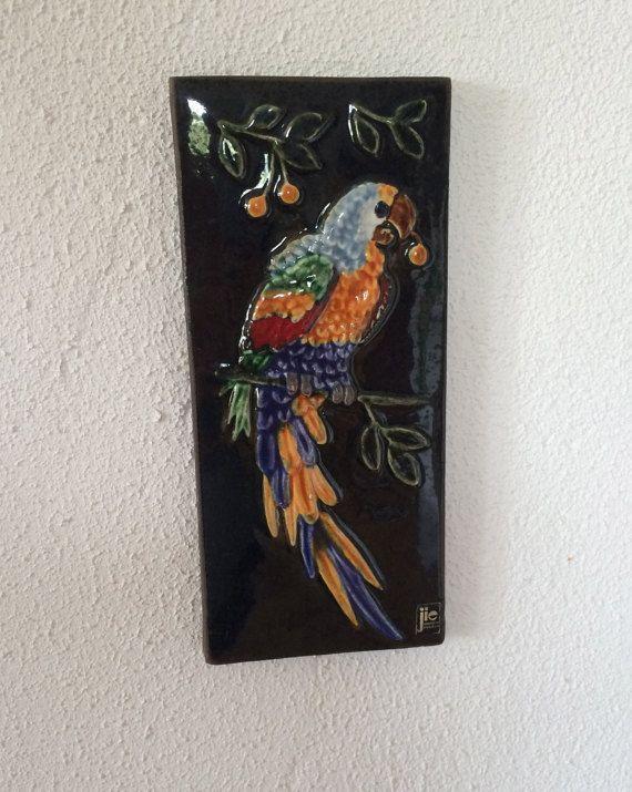 Jie ceramic plaque relief tile wallhanging / parrot bird / Jie Gantofta / Sweden Scandinavia / 70s
