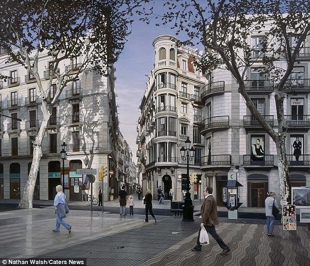 For larger work, the drawing stage can take up to one month, before Nathan brushes over the canvas with a glaze of oil paint. Pictured is Barcelona