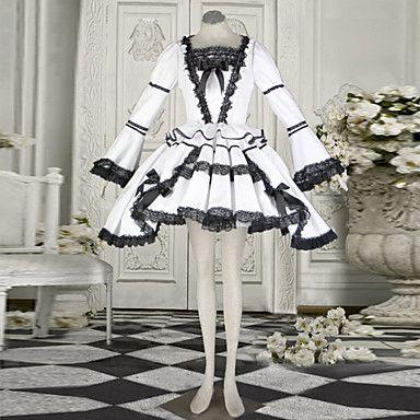 Naughty+Girl+Long+Sleeve+Short-length+White+Cotton+Classic+Lolita+Dress+–+USD+$+48.99