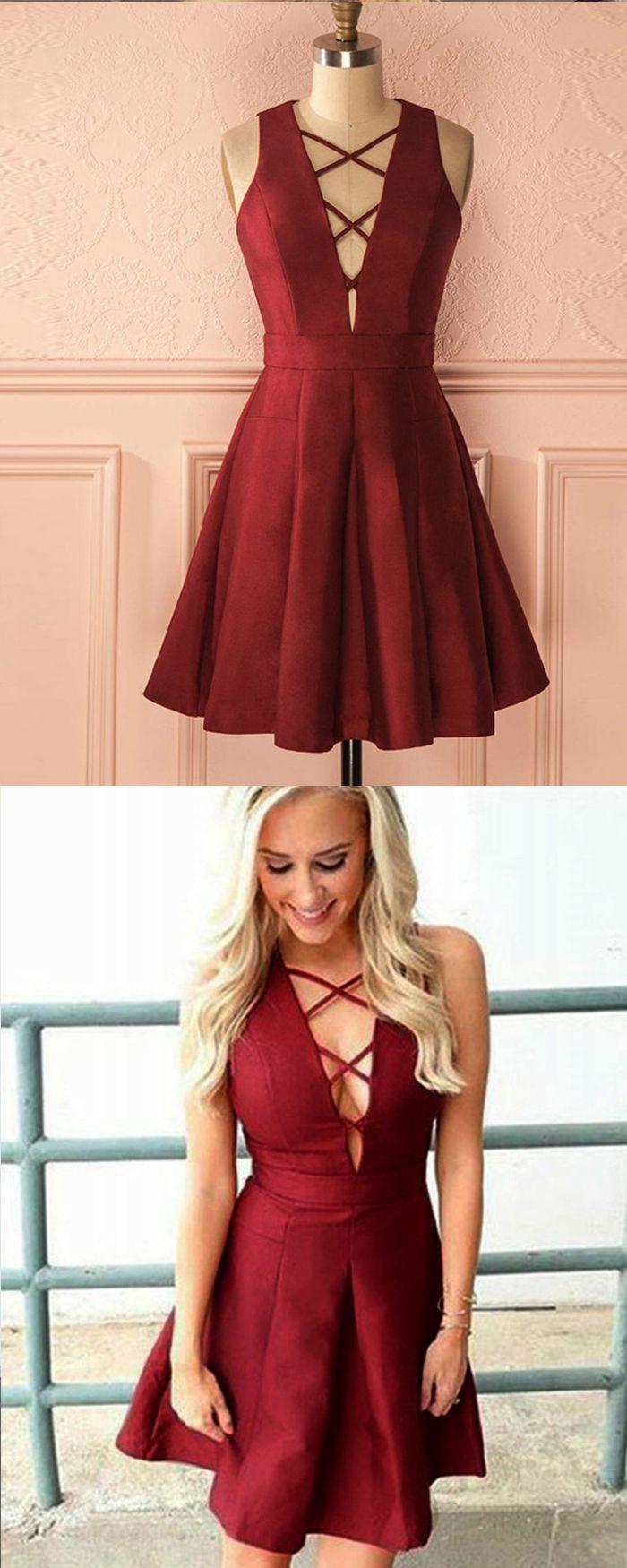 Simple criss cross burgundy satin pleated short homecoming dress