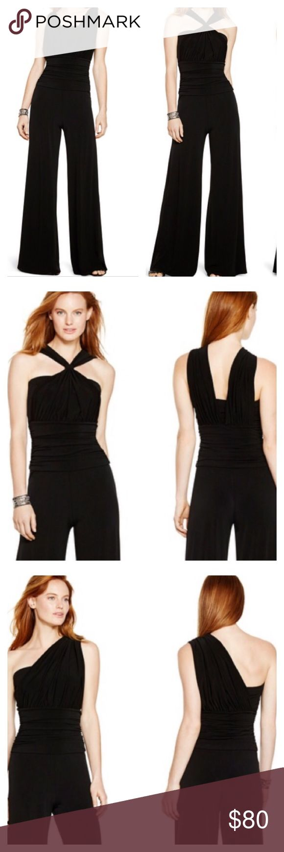 "⚜WHBM Genius Convertible Black Jumpsuit⚜ An expert way to change it up without adding a thing-convertible White House Black Market jumpsuit. This jumpsuit is sold out online. Stretch fit. Easy pop-over wear with no closures. Four wearable options: sleeveless, short sleeve, halter and one shoulder. 95% spandex, lining 100% polyester. Machine wash cold. Imported. Inseam approximately 32.5"". Photo Source: www.whitehouseblackmarket.com White House Black Market Pants Jumpsuits & Rompers"
