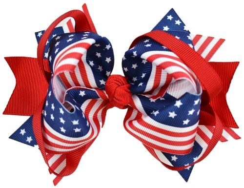 USA 4th of July 5 Inch Loopy Hair Bow By Funny Girl Designs (Red - Alligator Clip)