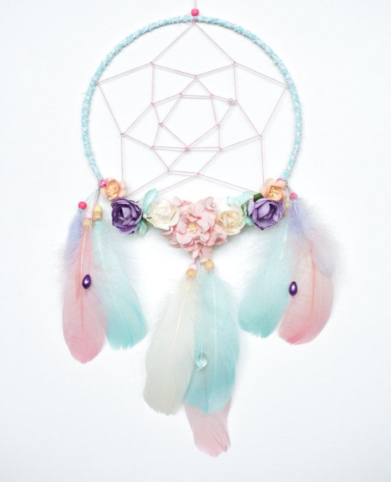 Boho Dream catcher Pastel thoughts with flowers and by Loflov