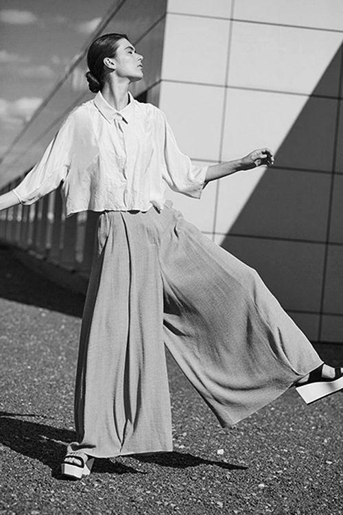 Купить БРЮКИ ШИРОКИЕ на подкладке из коллекции «Resort 2016» от Lesel (Лесель) российский дизайнер одежды