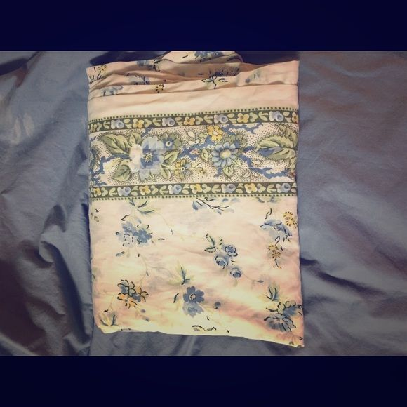 Shabby chic twin flat sheet Cute white sheet with dainty blue, green, and yellow flowers. Has a band at the top that is green with blue roses on it. Use for sheet or curtain. Cute! Westpoint Stevens Other