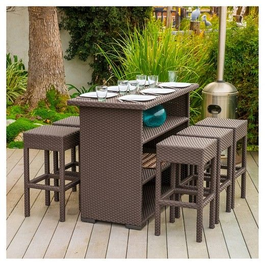 Milton 7pc Wicker Patio Bar Set - Brown - Christopher Knight Home : Target