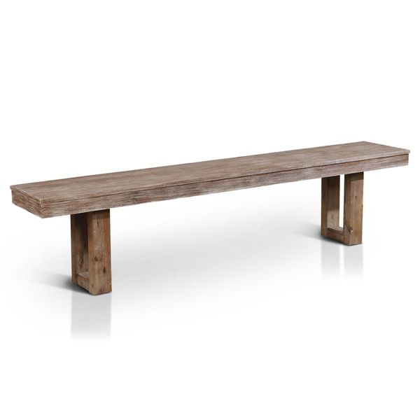 Furniture of America Treville Country Farmhouse Natural Tone Plank Style Dining Bench  sc 1 st  Pinterest & 12 best Benches images on Pinterest | Benches Dining chairs and ... islam-shia.org