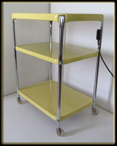 Vtg 60s Mid Century Modern Bright Yellow Cosco 3 Shelf Bar Utility Cart w Power