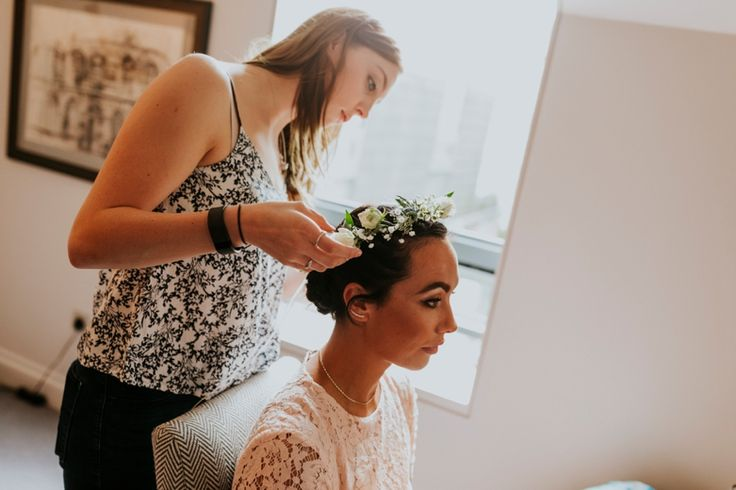 Flower crowns are such a good hair accessory and suit pretty much anybody. Photo by Benjamin Stuart Photography #weddingphotography #weddinghair #flowercrown #bridesmaid #bridalprep