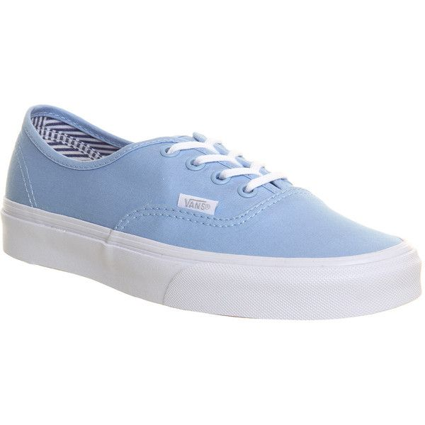 Vans Authentic ($72) ❤ liked on Polyvore featuring shoes, sneakers, vans, zapatos, trainers, deck club pastel blue bell, unisex sports, vans sneakers, lace up shoes y vans footwear