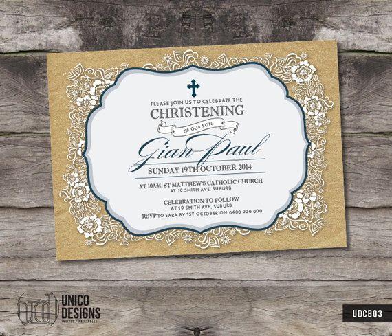 Blue & Gold Christening Invitation / by UnicoDesignsInvites