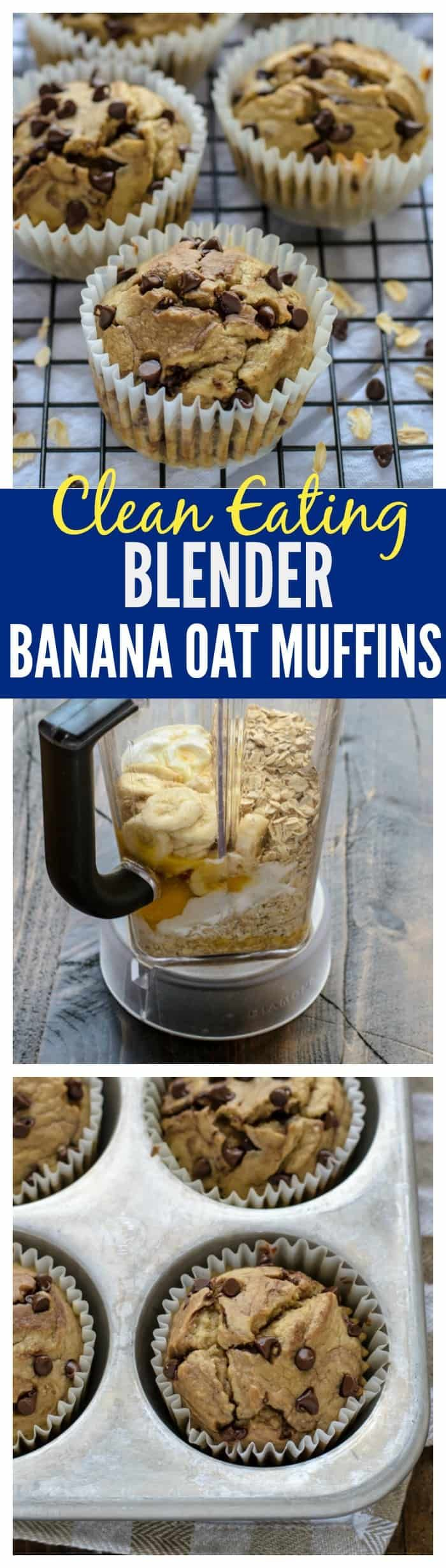 Muffins made with no flour, no butter, and no oil! This healthier banana oatmeal muffins recipe is made in a blender. They're moist and delicious! #healthysnacks #muffins #baking #cleaneating #blenderrecipe