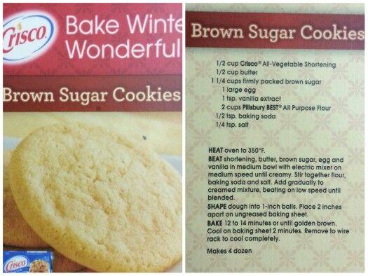 Brown Sugar Cookies (Crisco Recipe)