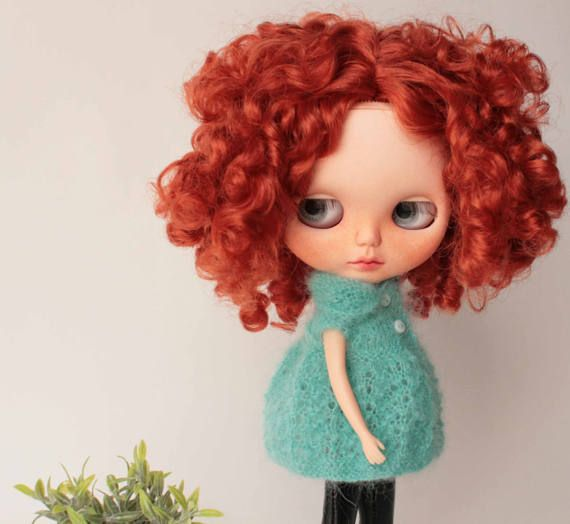 Blythe jacket, Mohair cozy dress for Blythe doll from VolnaDollsClother, Mint sweater for 12 inch doll, Hand knitted doll clothes, Mini knit
