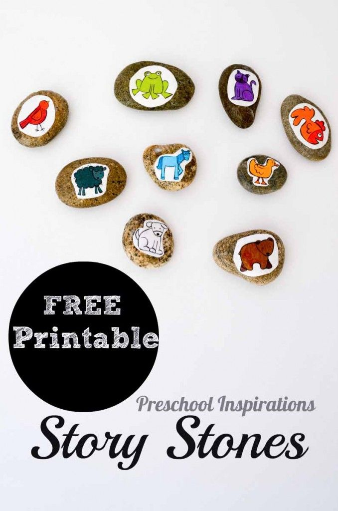 Brown Bear Inspired Story Stones with Free Printable by Preschool Inspirations
