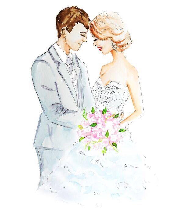 Картинки нарисованные жениха и невесты