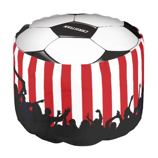 Red and White stripes Soccer Fans and football Pouf. #soccer#pouf#redwhite#striped. AFFILIATE LINK