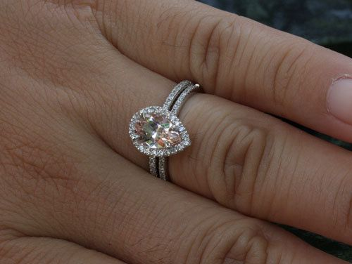 14k White Gold 9x6mm Morganite Pear Engagement Ring and Diamond Wedding Band Set (Choose color and size options at checkout) on Etsy, $1,150.00