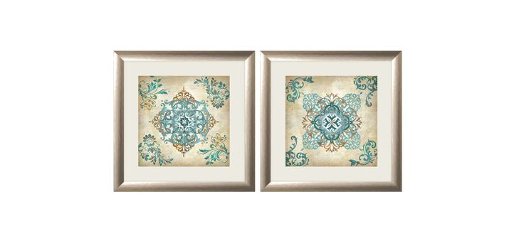 """PTM Images 1-32910 18 Inch x 18 Inch """"Green Splash"""" Two Piece Framed Giclee Art Beige Home Decor Wall Decor Art Prints"""