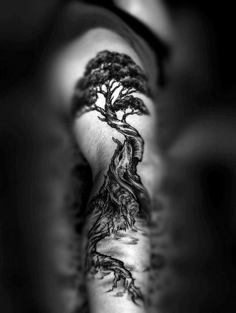 Japanese Black Ink Bonsai Tree Full Arm Sleeve Mens Tattoos