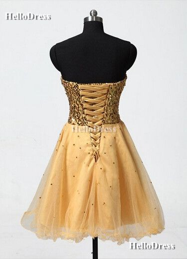 Gold Sequined Bodice Knee Length Short Graduation Dress Homecoming Dress on Storenvy