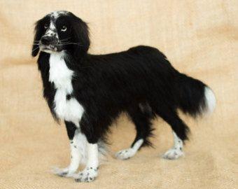 Gemaakt aan de orde naald vilten hond (langhaar): aangepaste naald vilten dierlijke beeldhouwkunst